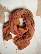 botanically-dyed merino wool scarves : oranges
