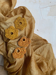 small shapes botanically-dyed crochet earrings : yellows and oranges
