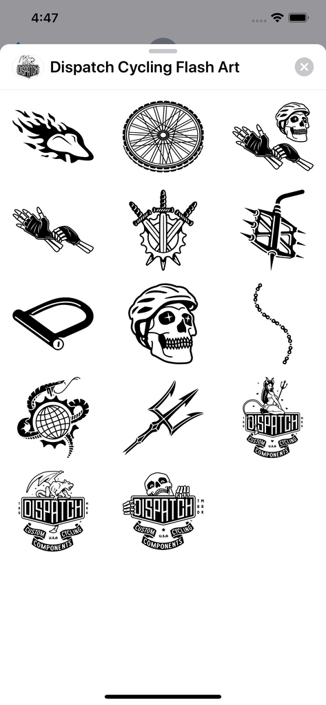Dispatch Custom Cycling Components iMessages Sticker Pack