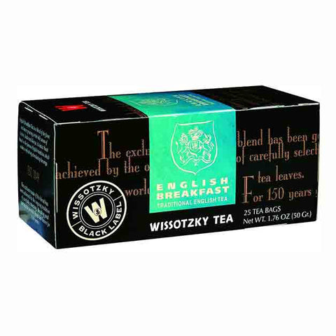 Black Label Tea  Wissotzky Tea English Breakfast / Box of 25 Bags