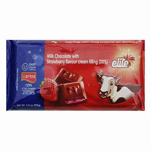 Elite Milk Chocolate Bar With Strawberry flavour cream  filling.