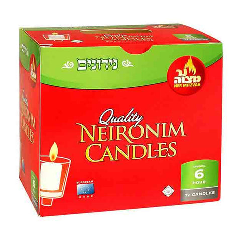 Ner Mitzvah - 6 Hour Neironim Candles - 72 Pack