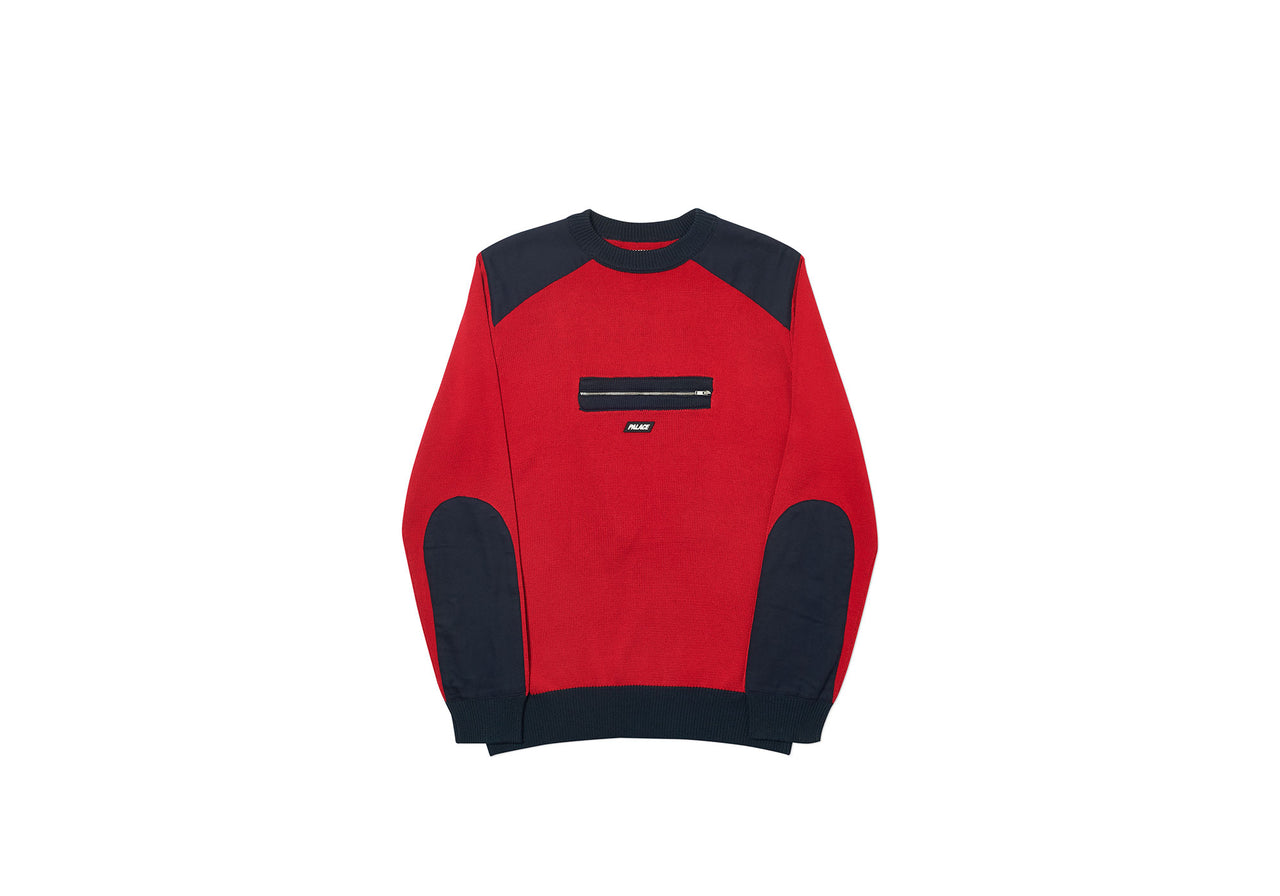 QUART ZIP KNIT RED