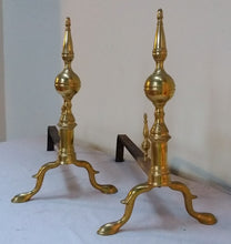 Antique American Brass Andirons