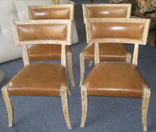Set of Four Klismos Style Leather Chairs with Light Wood Finish