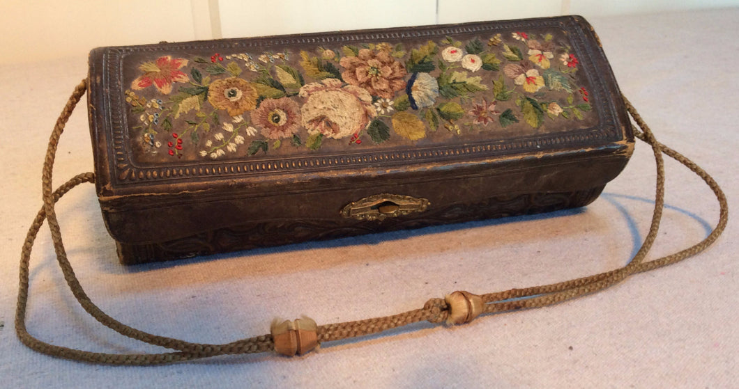 Antique Leather Sewing Pouch with stitched Top