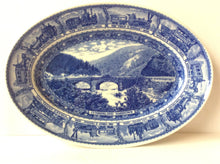 Blue and white railroad commemorative plate