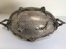 Pierced silver plated bread basket