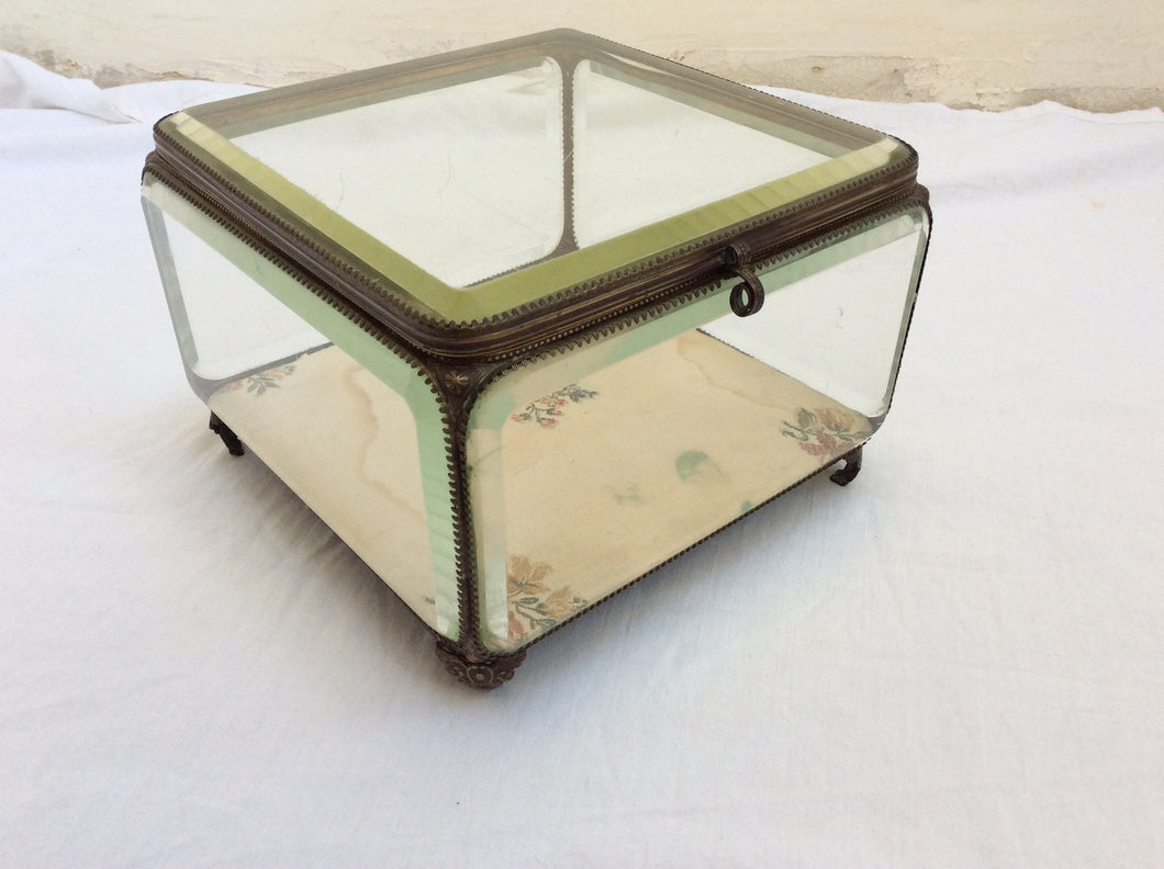 Crystal  brass glass box with textile bottom