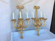Large scale bronze dore wall sconces French