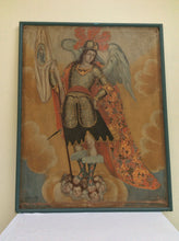 Large Spanish Colonial Painting Cuzco school archangel San Gabriel