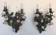 Italian tole and Porcelain flower Wall Sconces