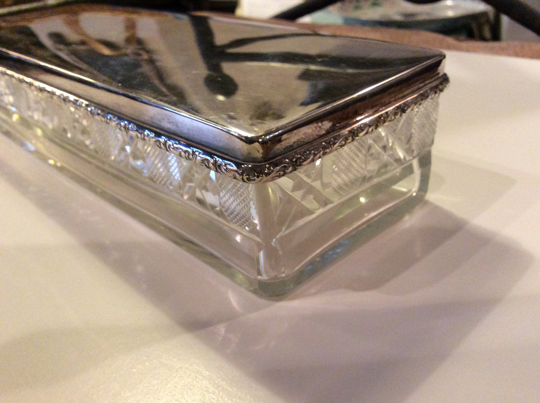 Silver Plated Cut Crystal Box