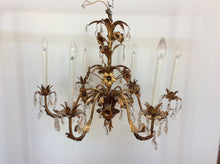 Gilt Metal Italian Crystal and Tole Flower Chandelier