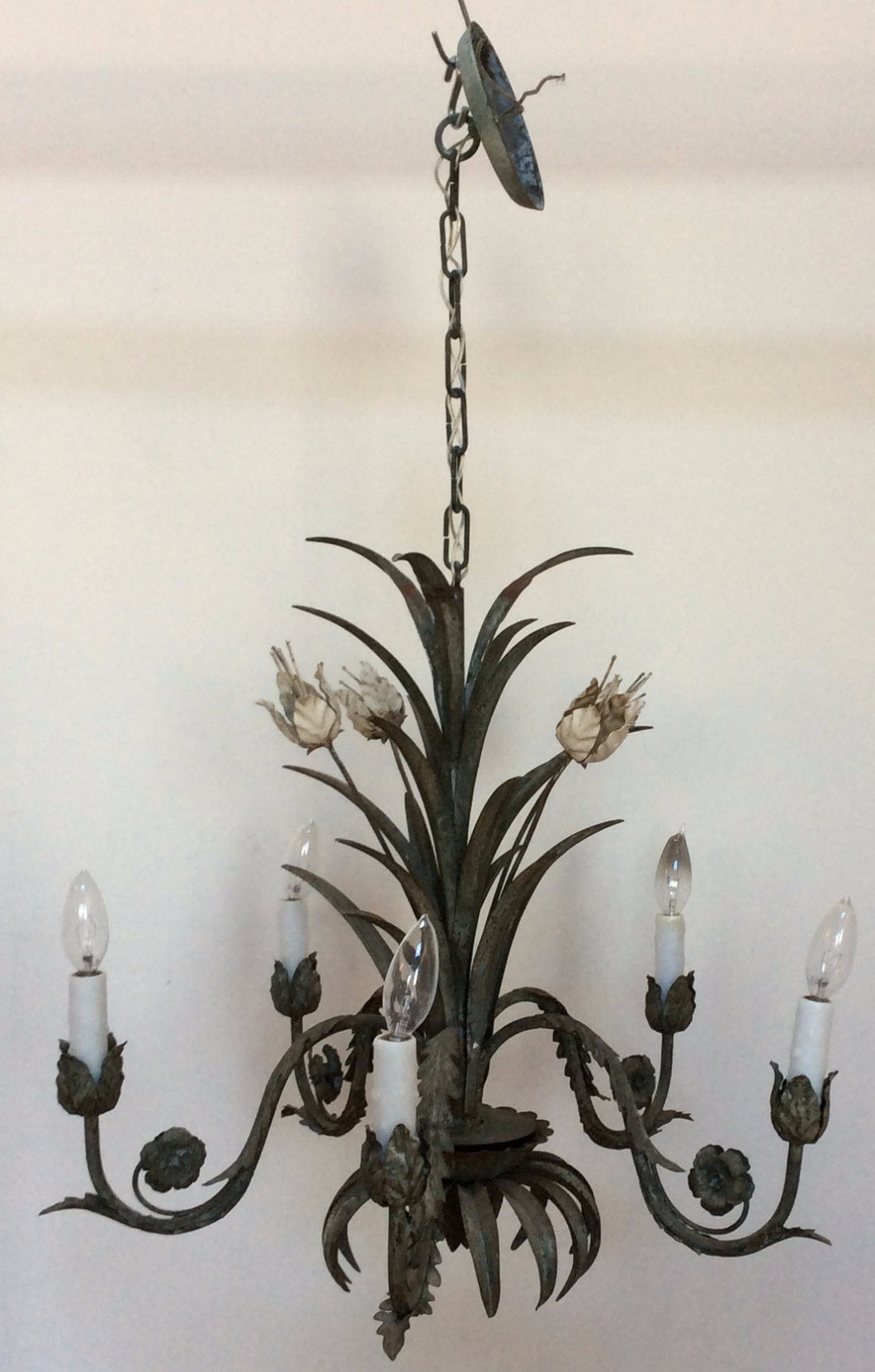 Antique Painted Tole Flower Chandelier