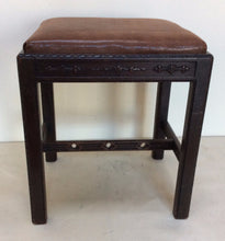 George III Style Stool With Leather Seat