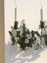 Pair of green painted Tole and white porcelain flower sconces