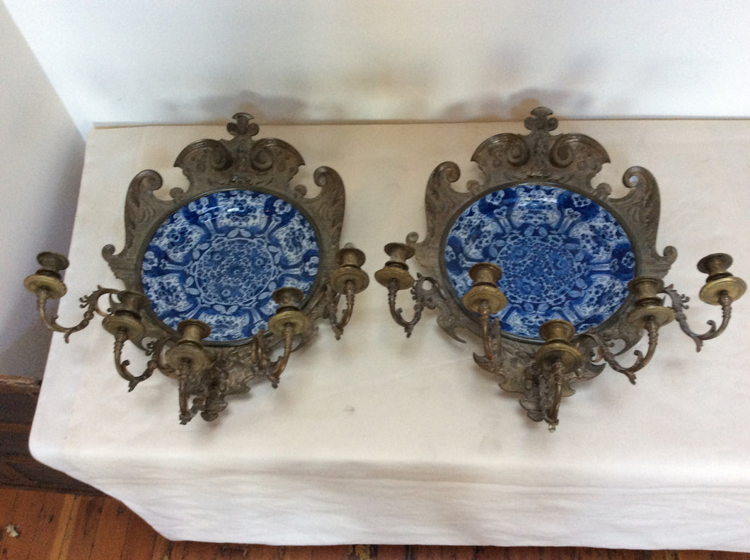 Pair of bronze and delft wall sconces 28