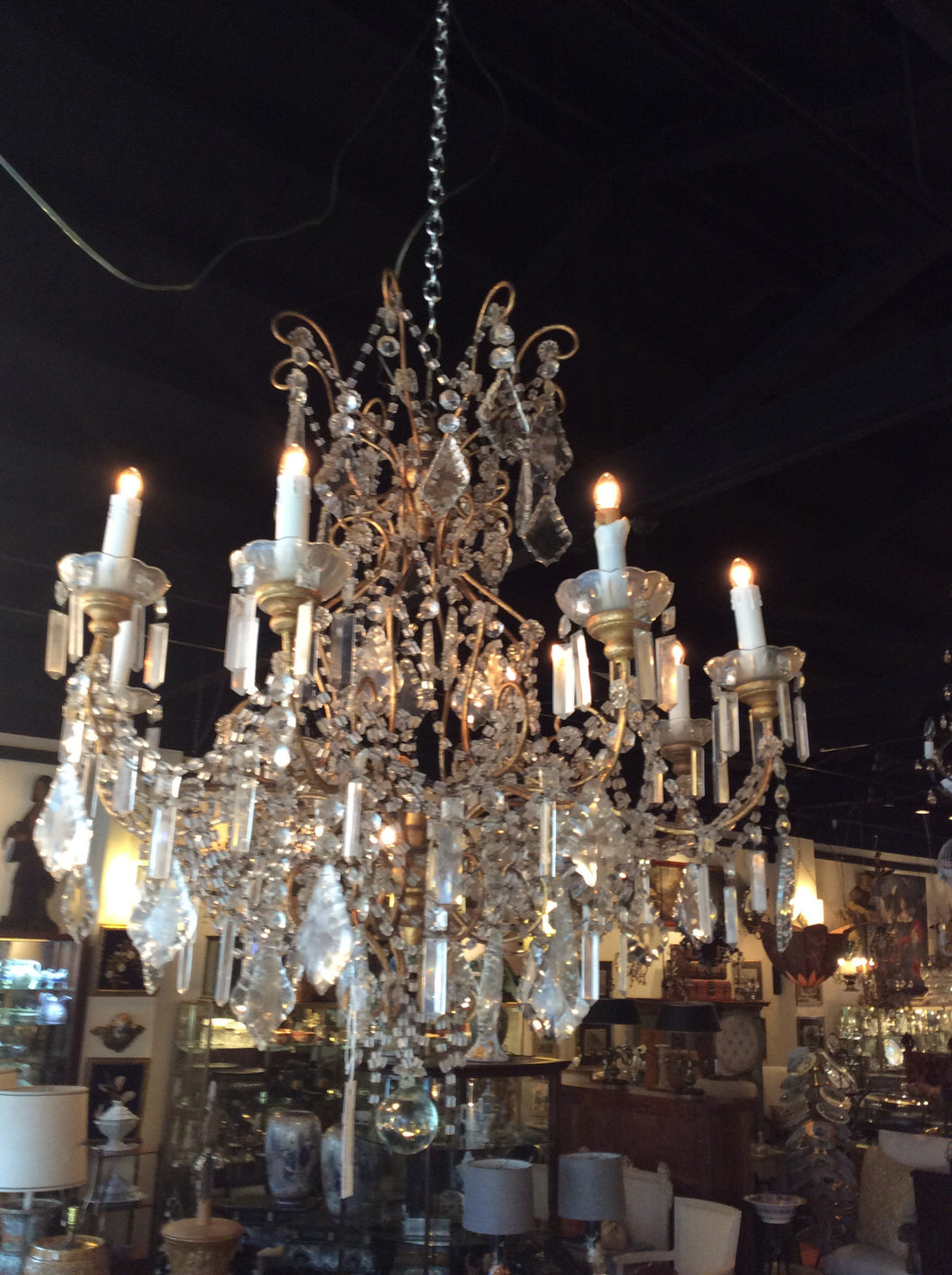 Large Italian macaroni beaded Chandelier 36