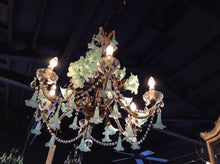 Blown Glass Flower Gilt Metal Chandelier With Crystal