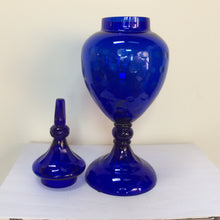 Cobalt blue glass apothecary jar