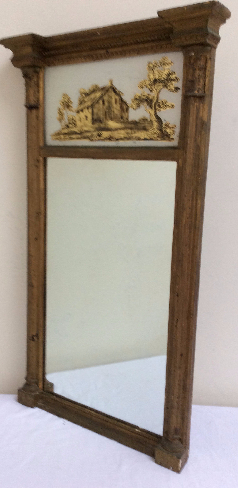 Early American Mirror with eglomise panel section circa 1820