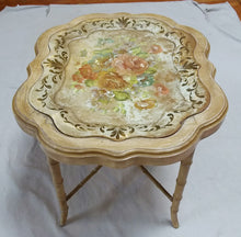 Vintage Tole Floral Tray with Custom Faux Bamboo Regency Style Base