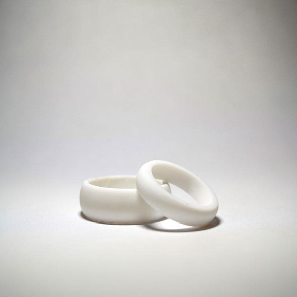White Winter Hymnal Silicone Ring - Classic Width