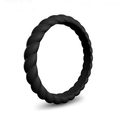 Spiral - Paint It, Black Silicone Ring