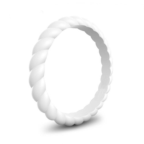 Spiral - White Winter Hymnal Silicone Ring
