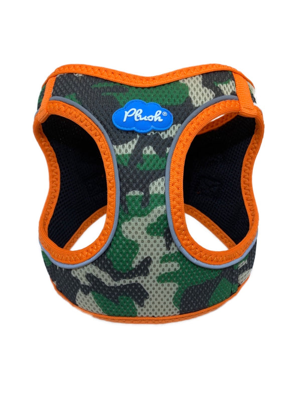 Plush Step In Air Mesh Harness - Camo/Orange