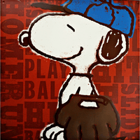 Snoopy Playing Baseball Sign - Loomzee