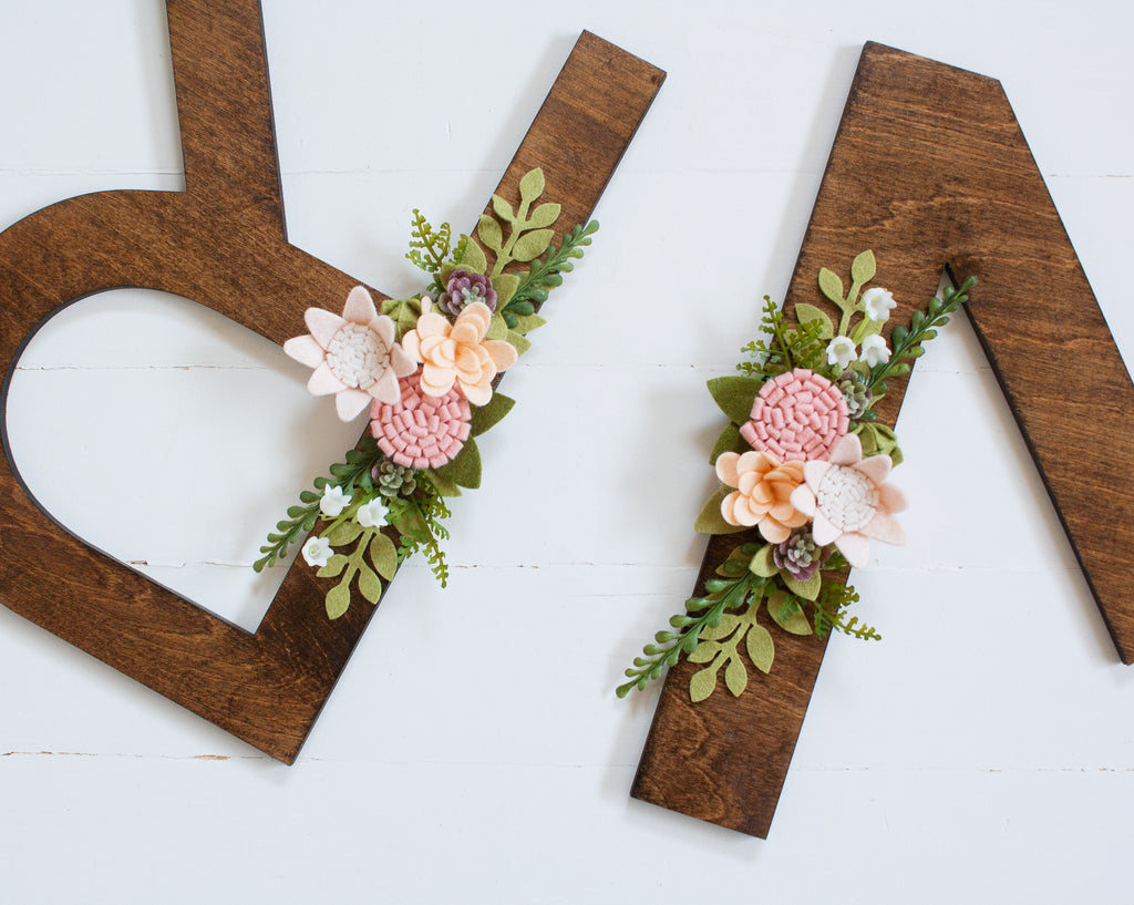 How to embellish wood letters with felt flowers - Instagram Live