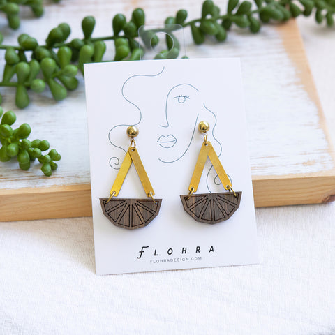 DODECAGON CHARM Earrings - Wood & Brass