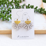 FLORAL SUNRISE Earrings - Wood & Brass
