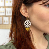 TRIBAL CHEVRON Earrings - Wood & Brass