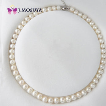 J.MOSUYA 7-8 mm Natural Pearl Necklace Women Real White Smooth Freshwater Pearl Jewelry - urbanlifejewelry