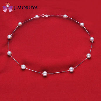 J.MOSUYA Round Freshwater Pearl Necklace For Women Christmas Gift Natural Pearl Jewelry Necklace - urbanlifejewelry