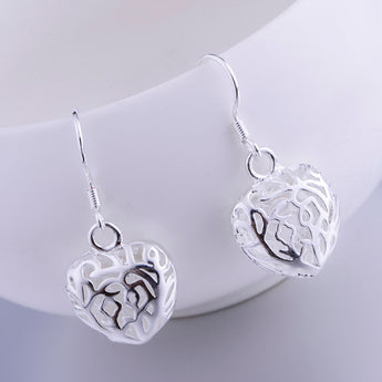 hollow cordiform shiny silver plated earrings 925 jewelry for women