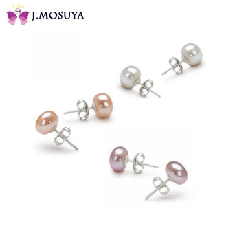 J.MOSUYA Pearl Jewelry Freshwater Real Natural Pearl Earring For Women Christmas Stud Earring - urbanlifejewelry