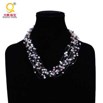 Colorful Pearl charming Necklace Graceful Baroque Wedding Pearl Jewelry - urbanlifejewelry