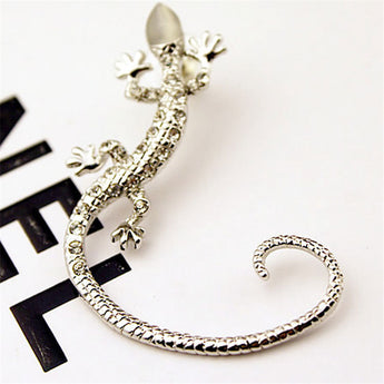 2016 New Arrival Rhinestone Ear cuff Earrings luxury Rose Gold Exaggerated Gecko Lizards Stud Earrings