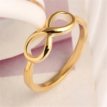 Luxury Inverted 8 Word Deign Zircon Crystal Alloy Rings Korean Fashion Simple Temperament Ring