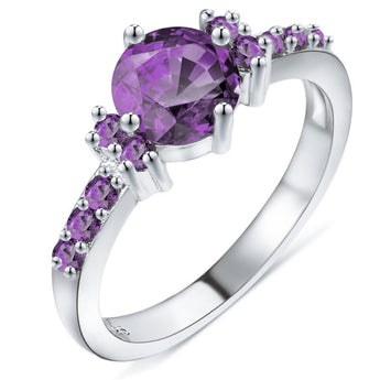 Purple Crystal Zircon Ring