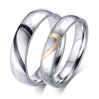 Couple Rings for Men Women Titanium Steel Heart Shape Wedding Finger Ring Romantic Jewelry