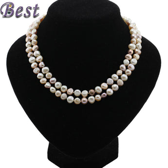 8mm baroque AA 90cm  real genuine freshwater pearl necklace for woman mixed color natural cultured pearl necklace pendant - urbanlifejewelry