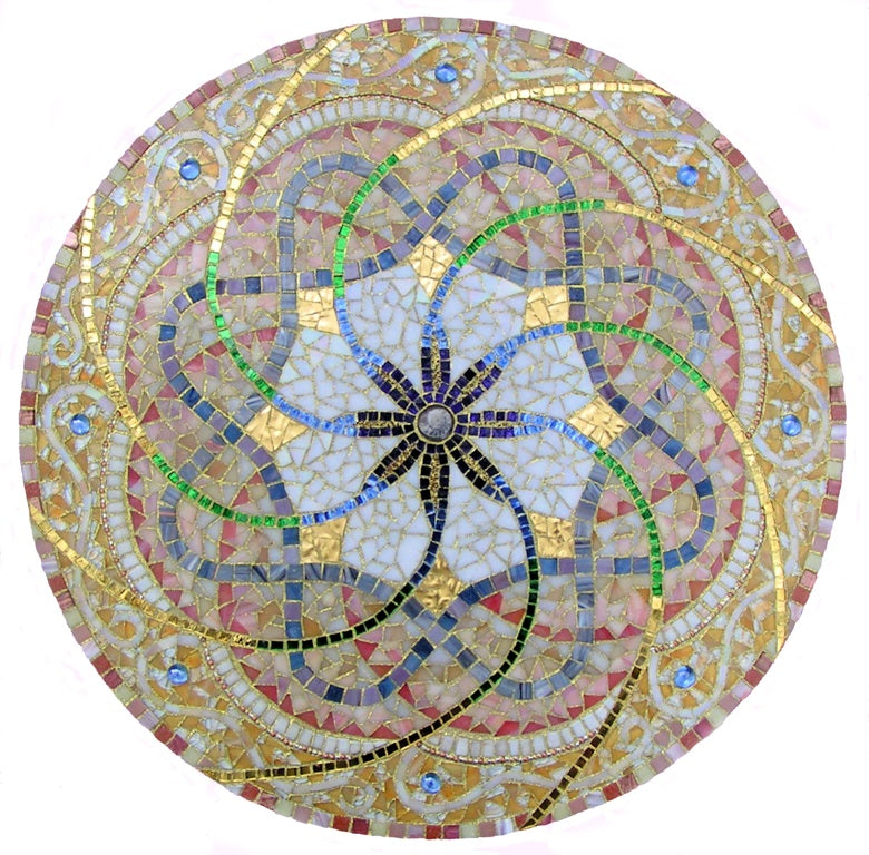"Light Swirls: 20"" by Dianne Sonnenberg - mosaic mandala.  Ammonite, stained glass, glass tile, mirror, beads, 24K gold tile, and Spectralock Dazzle Grout.  Designed and created to express the awe I felt after being in the presence of Tibetan Monks creating a sand mandala."