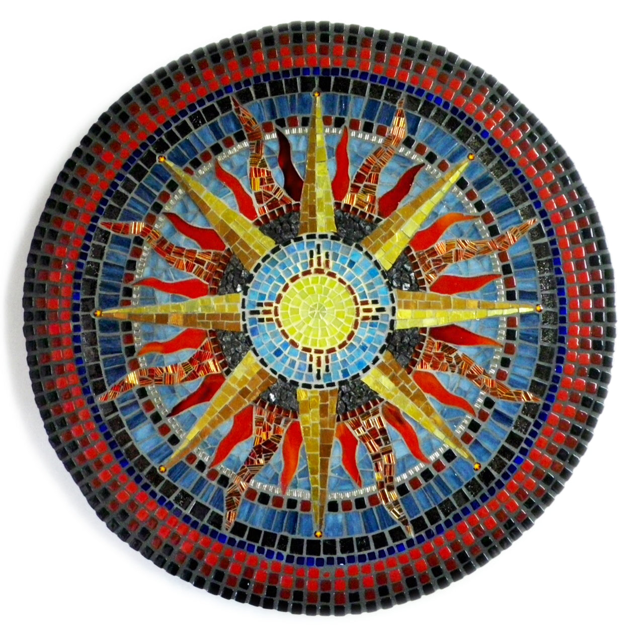 """The Same Sun""  by Dianne Sonnenberg - 16"" mosaic mandala. Stained glass, glass tile, beads. Dichroic glass, murrini, granite, 24K Gold Tile.  For my brother, who reminds me that no matter how far apart we are, when we look up into the sky, we see the same moon and the same sun."