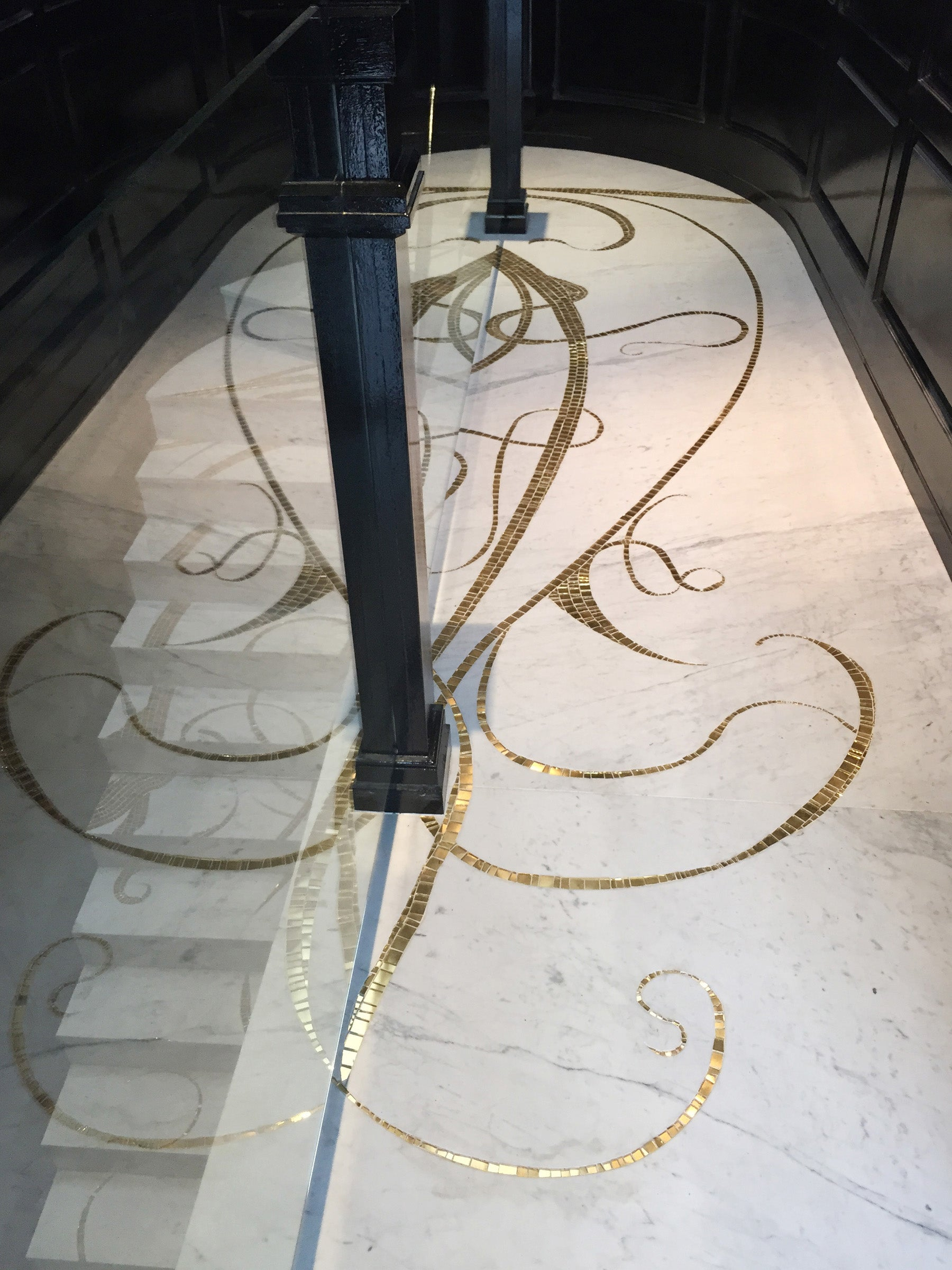 SOHO Penthouse Marble & Gold Mosaic Floor & Stairs, New York, N.Y. By Cathleen Newsham