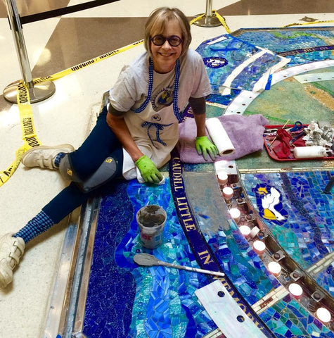 Terri working on Foucault Pendulum